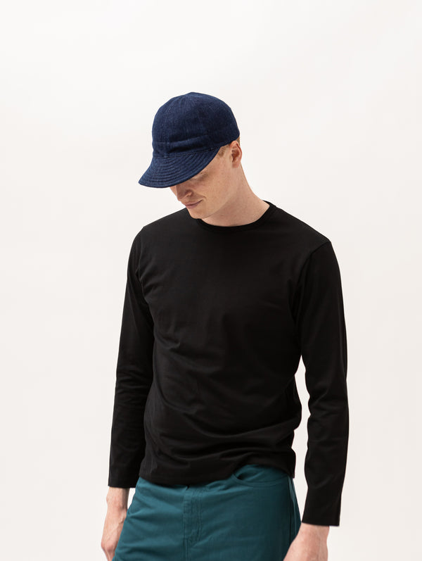 Kardo Quilted Peak Denim Cap - Indigo - Burrows and Hare