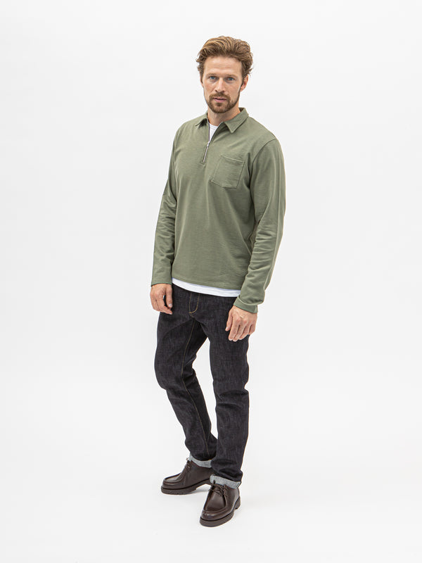 Burrows & Hare Quarter Zip Long Sleeve Polo - Khaki Green - Burrows and Hare