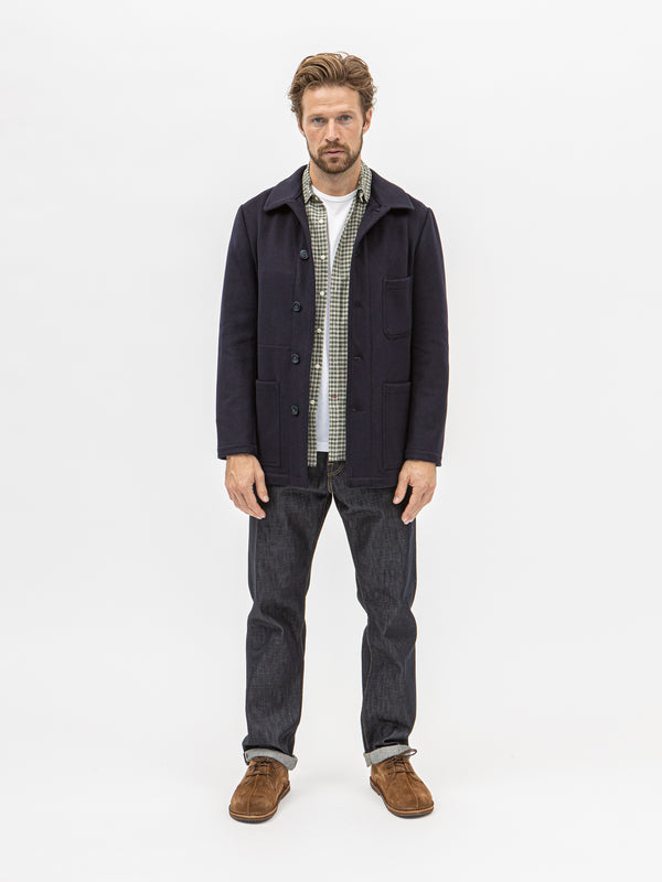 Burrows and Hare Wool Workwear Jacket - Dark Navy - Burrows and Hare