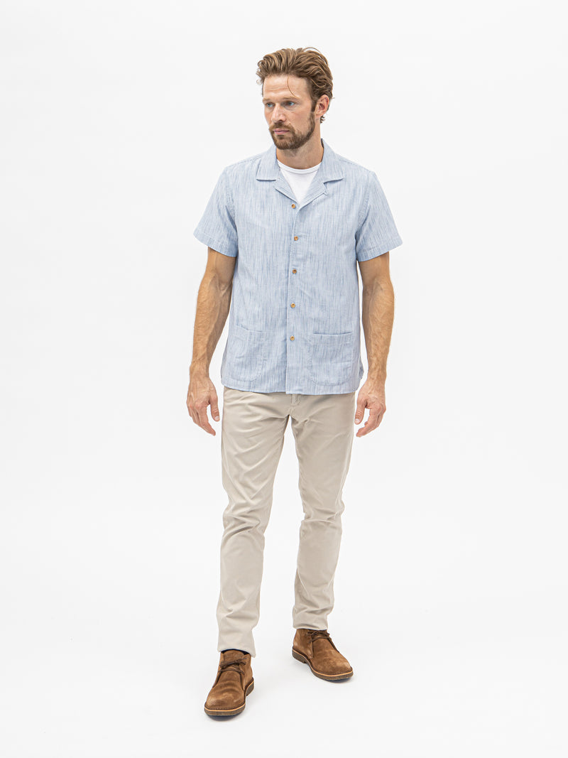 Unfeigned Short Sleeve Stripe Shirt - Blue - Burrows and Hare