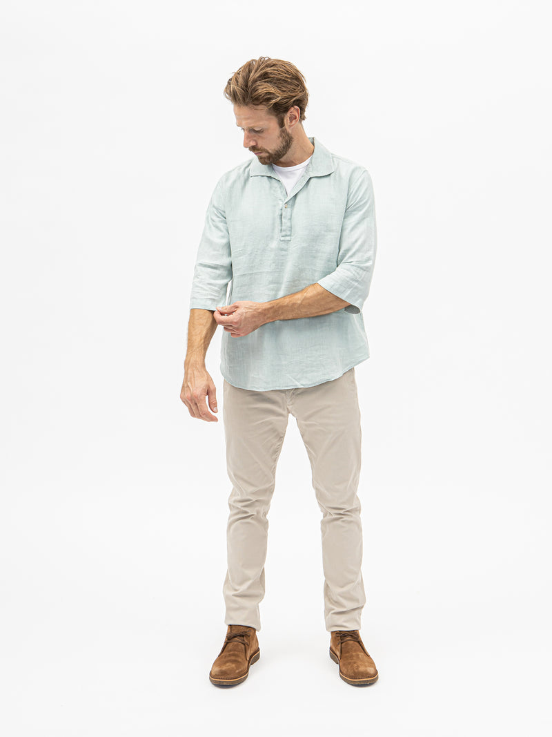 Unfeigned Polera Linen Shirt - Grey Mist - Burrows and Hare