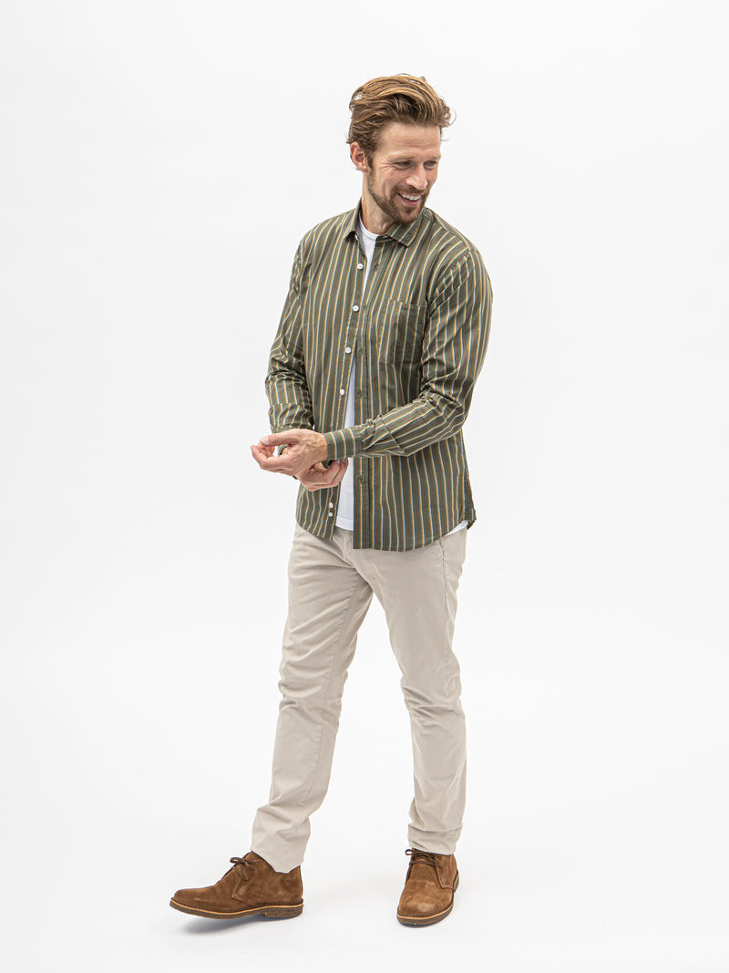 Burrows and Hare Stripe Shirt - Green - Burrows and Hare