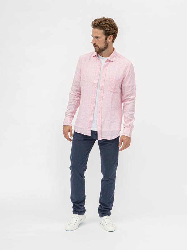 Hartford Paul Linen Col 06 Shirt - Pink - Burrows and Hare