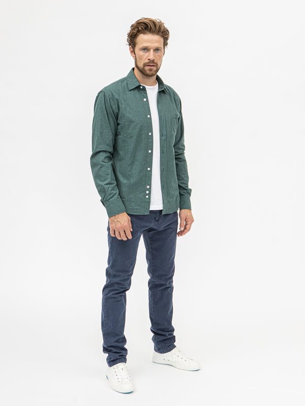 Burrows & Hare Faded Micro-Check Flannel Shirt - Green - Burrows and Hare