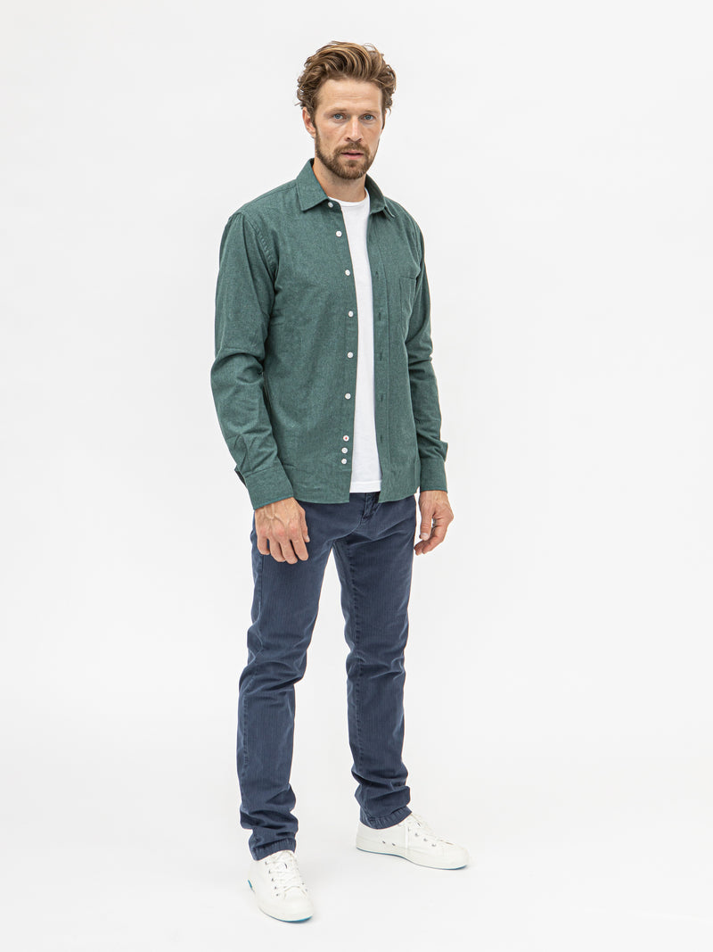 Burrows and Hare Faded Micro Check Flannel Shirt - Green - Burrows and Hare