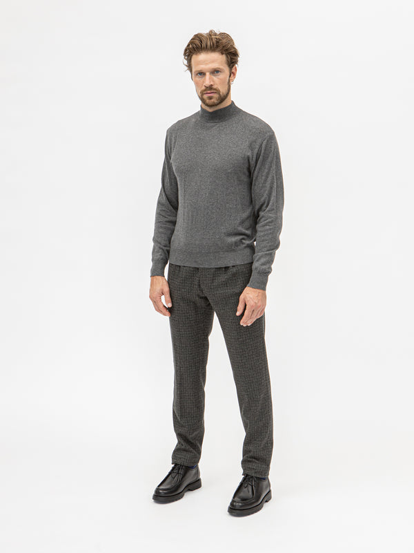 Burrows & Hare Mock Turtle Neck - Grey - Burrows and Hare