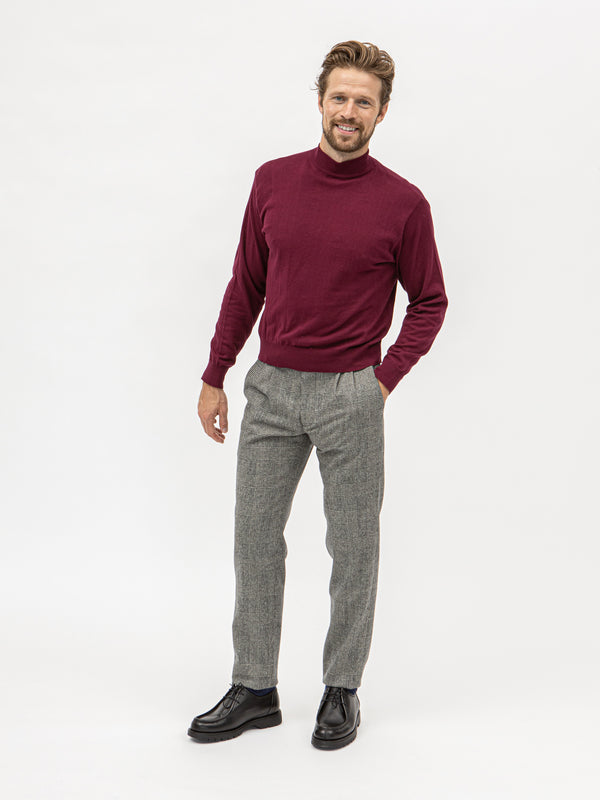 Burrows & Hare Mock Turtle Neck - Burgundy - Burrows and Hare