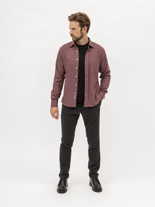Burrows & Hare Flannel Check Shirt - Bordeaux - Burrows and Hare