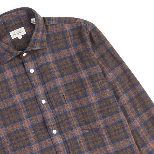 Hartford Paul Shirt  - Brown Check - Burrows and Hare