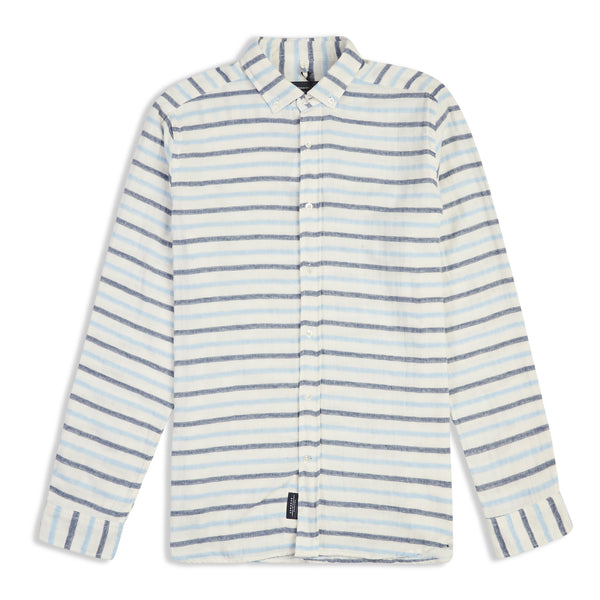 Edmmond Studios Button Down Stripe Shirt - Blue - Burrows and Hare