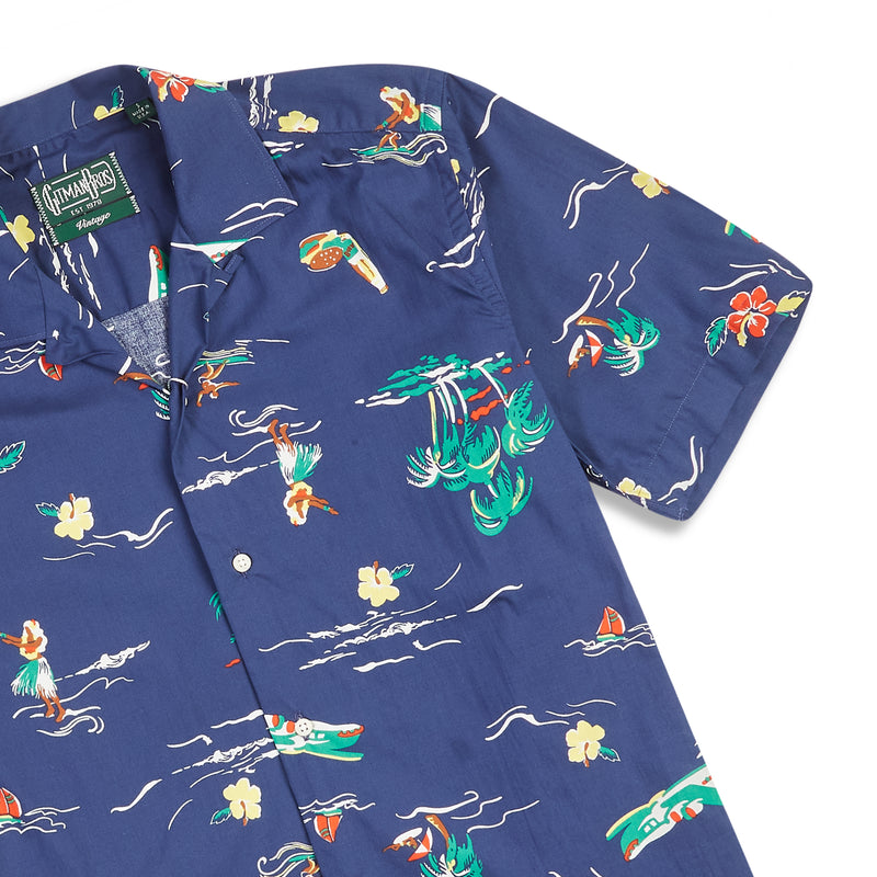 Gitman Bros. Surf and Turf Camp Shirt - Navy - Burrows and Hare