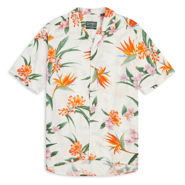 Gitman Bros. Flowers Camp Shirt - White - Burrows and Hare