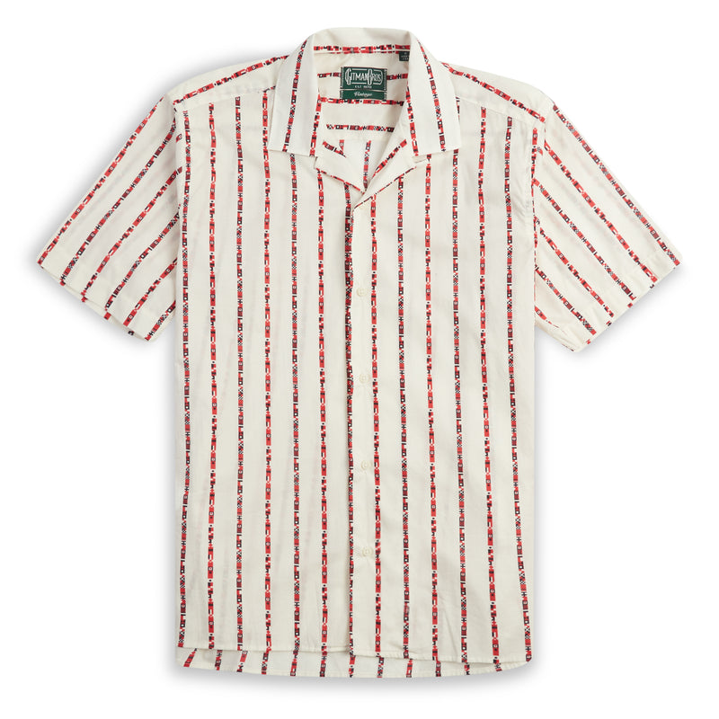 Gitman Bros. Flag Camp Shirt  - Ecru - Burrows and Hare