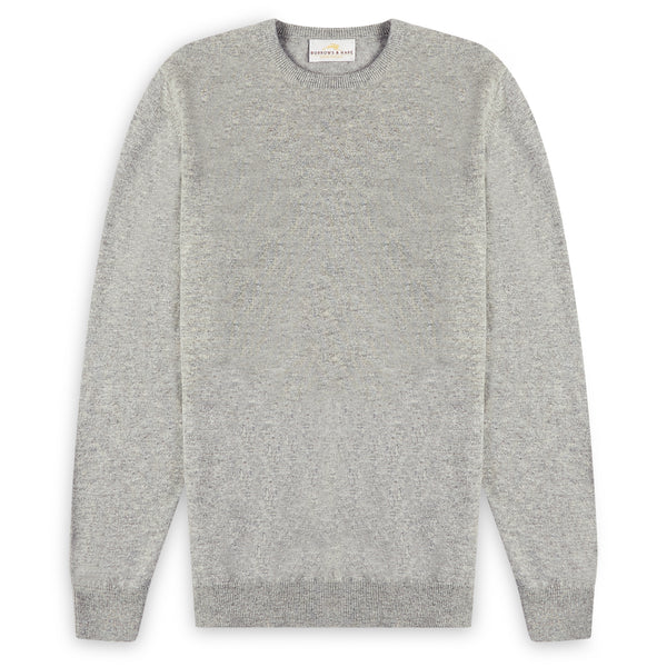 Burrows & Hare Scottish Lambs Wool Crew Neck Jumper - Silver - Burrows and Hare
