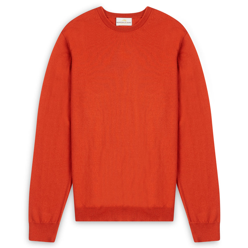 Burrows & Hare Scottish Merino Wool Crew Neck Jumper - Furnace - Burrows and Hare
