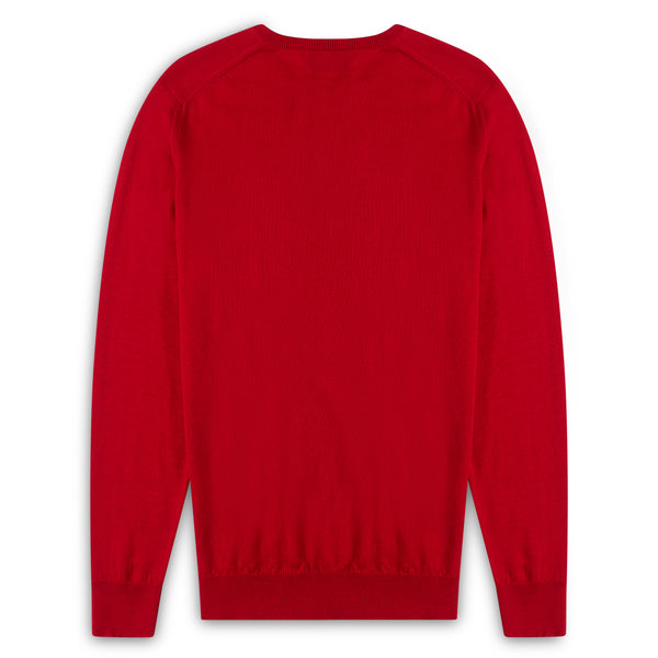 Burrows & Hare Scottish Merino Wool Crew Neck Jumper - Cardinal - Burrows and Hare