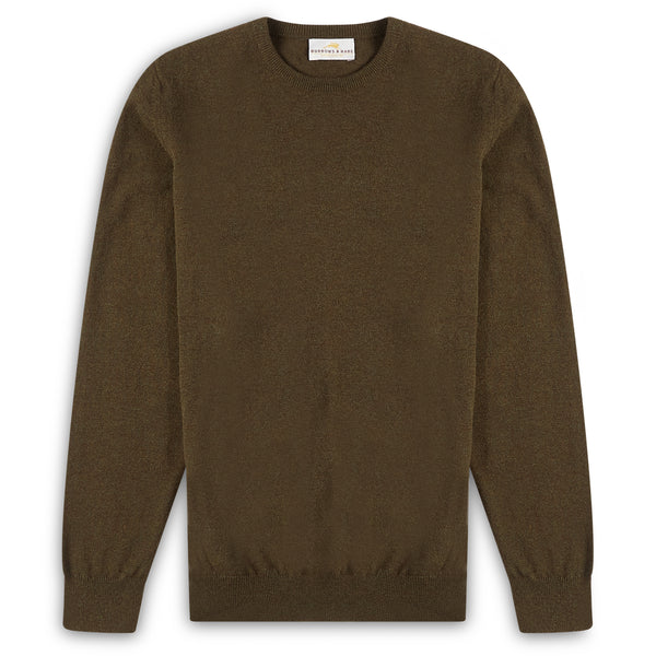 Burrows & Hare Scottish Lambs Wool Crew Neck Jumper - Bayleaf - Burrows and Hare