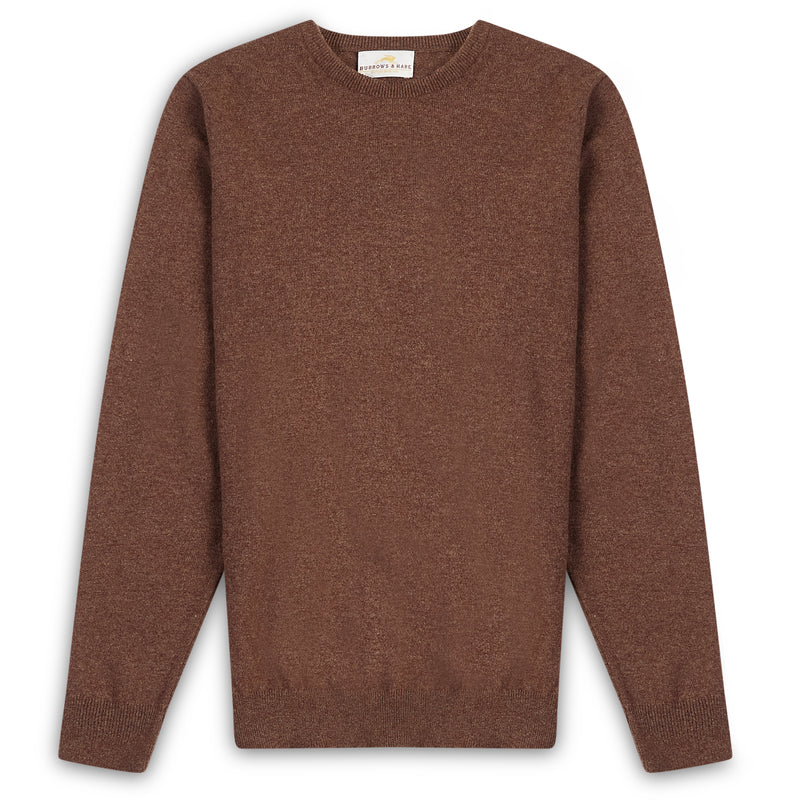 Burrows & Hare Scottish Lambs Wool Crew Neck Jumper - Mocha - Burrows and Hare