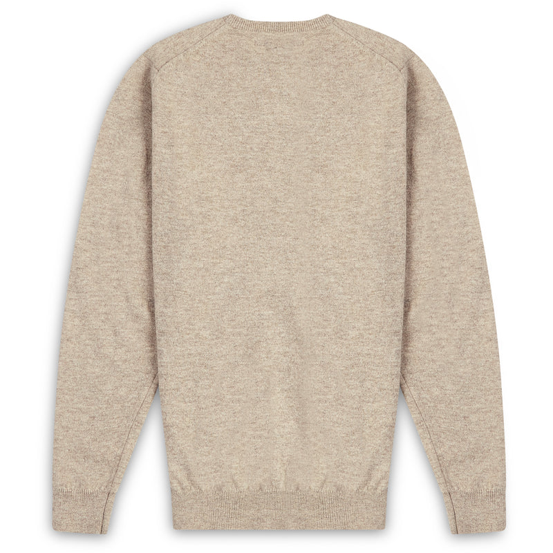 Burrows & Hare Scottish Lambs Wool Crew Neck Jumper - Edelwiess - Burrows and Hare