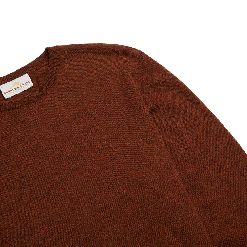 Burrows & Hare Scottish Merino Wool Crew Neck Jumper - Tiger Brown - Burrows and Hare