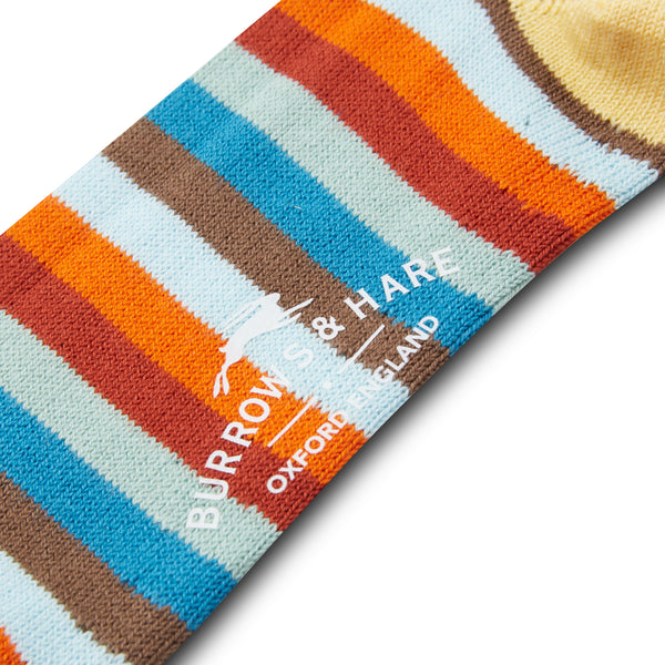 Burrows & Hare Multistripe Socks - Yellow - Burrows and Hare