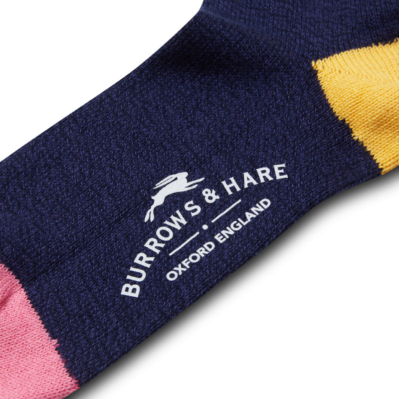 Burrows & Hare Stripe Cuff Socks - Navy - Burrows and Hare