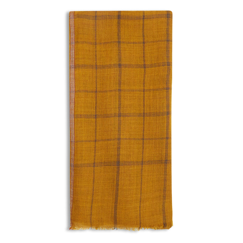 Hartford Scarf - Mustard Check - Burrows and Hare