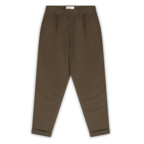 Universal Works Pleated Pant - Olive - Burrows and Hare