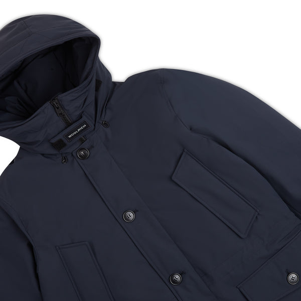 Woolrich Tech Stretch Parka - Melton Blue - Burrows and Hare