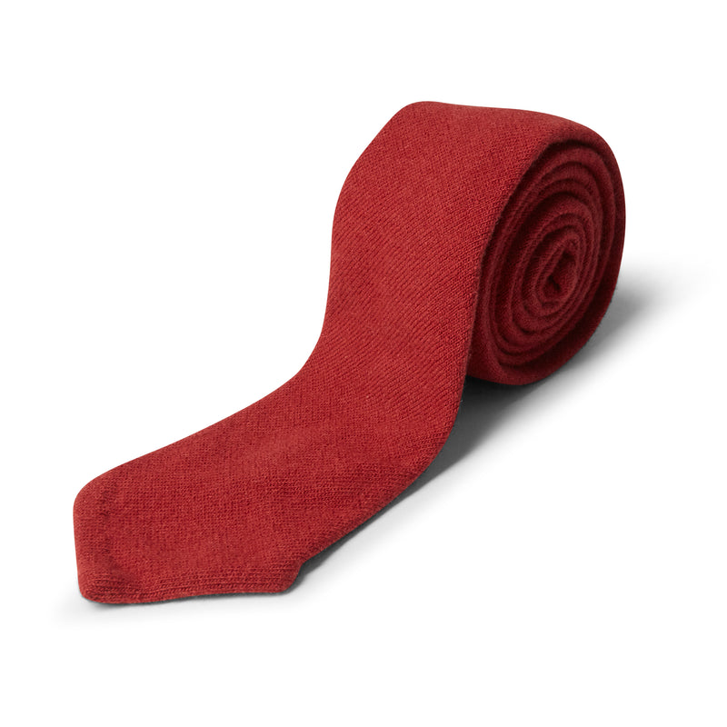 40 Colori Solid Fabric Knitted Tie - Red - Burrows and Hare