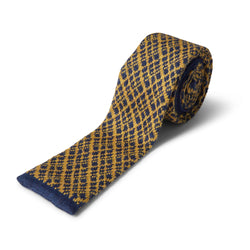 40 Colori Crisscross Wool Tie - Night Blue & Yellow - Burrows and Hare