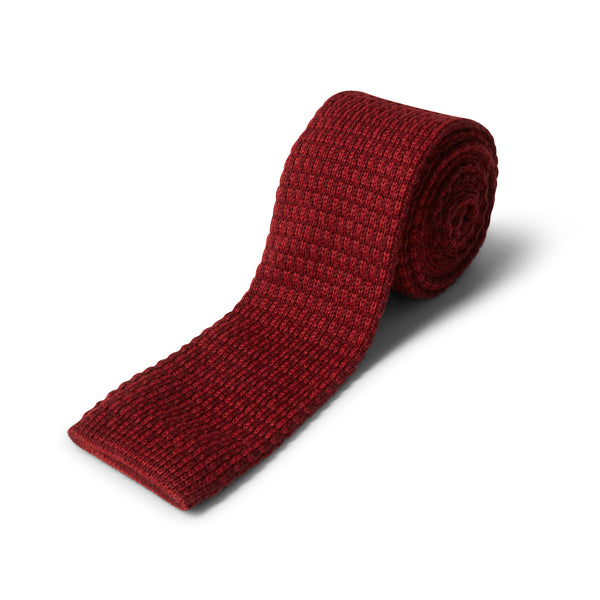 40 Colori Double Threaded Wool & Cashmere Tie - Burgundy - Burrows and Hare