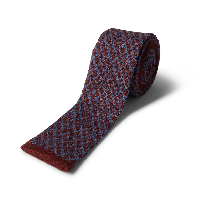 40 Colori Crisscross Wool Tie - Burgundy & Jeans Blue - Burrows and Hare