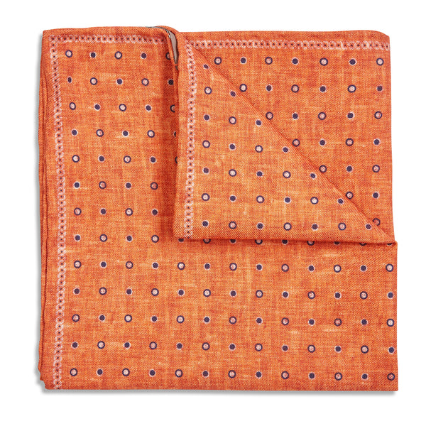 Rosi Collection Pocket Hanky - Polka Dot Orange - Burrows and Hare
