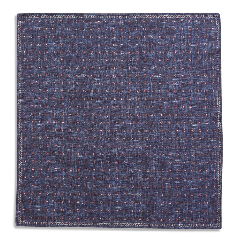 Rosi Collection Pocket Hanky - Polka Dot Navy - Burrows and Hare