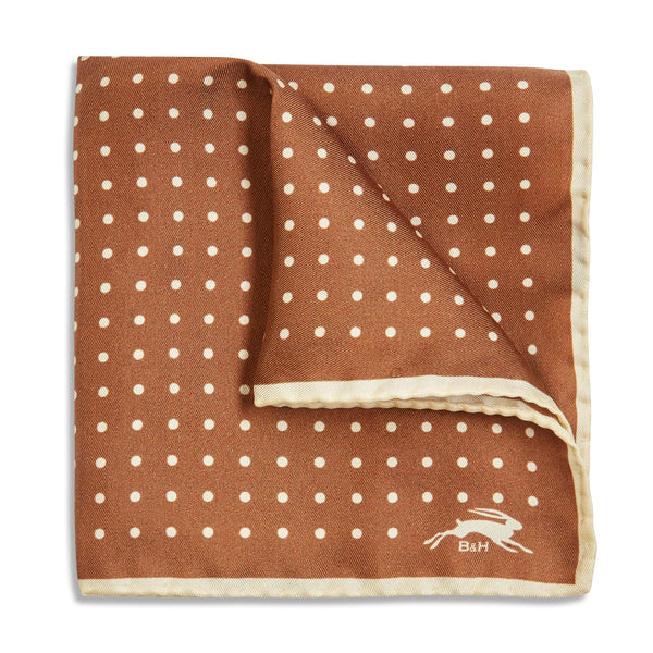 Burrows & Hare Handmade Rolled Silk Brown Polkadot Pocket Hanky - Burrows and Hare