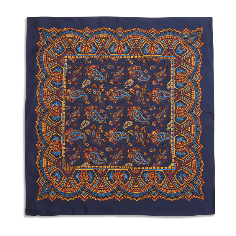 Burrows & Hare Pocket Hanky - Paisley Navy ll