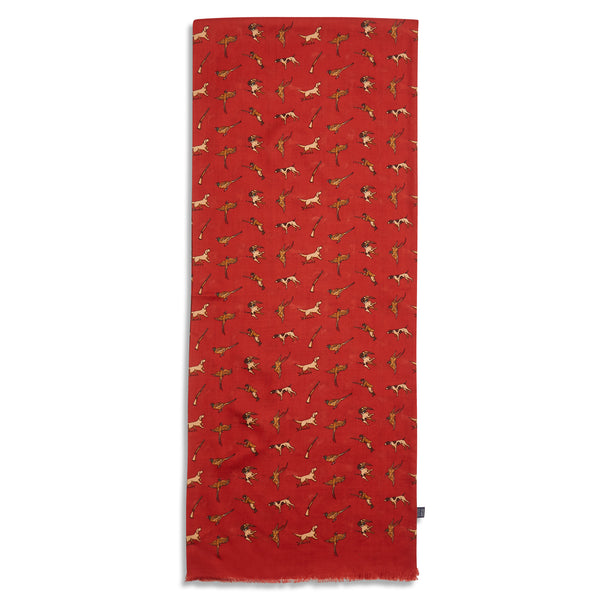 Burrows & Hare Silk Scarf - Hunting Red - Burrows and Hare