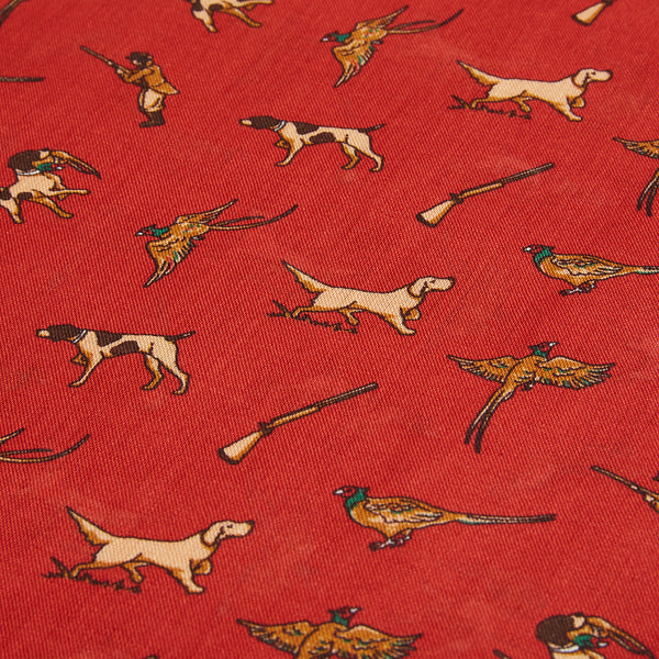 Burrows and Hare Silk Scarf - Hunting Red - Burrows and Hare