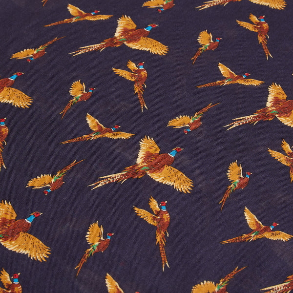 Burrows and Hare Silk Scarf - Pheasants Navy - Burrows and Hare