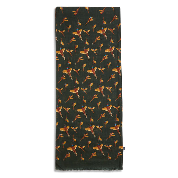 Burrows & Hare Silk Scarf - Pheasants Moss Green - Burrows and Hare