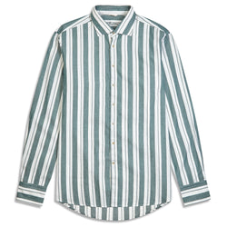 Stenstroms Shirt - Forest Green and White Stripe - Burrows and Hare