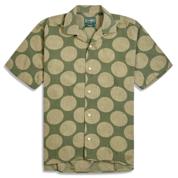 Gitman Bros. Dot Camp Shirt - Olive - Burrows and Hare