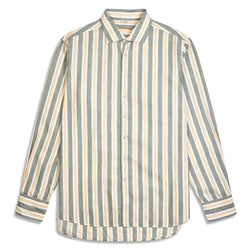 Stenstroms Shirt - Green, Yellow & White Stripe - Burrows and Hare