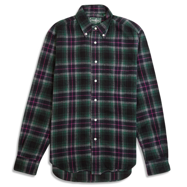 Gitman Bros. Vintage Button Down Flannel Shirt - Green & Pink Check - Burrows and Hare