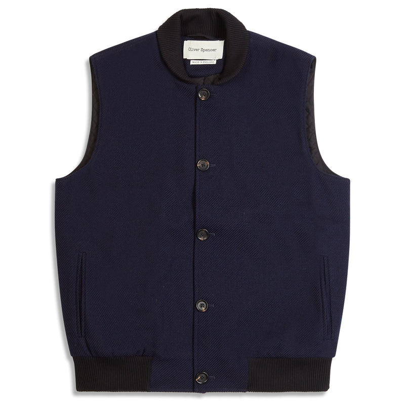 Oliver Spencer Moorland Gilet - Navy - Burrows and Hare