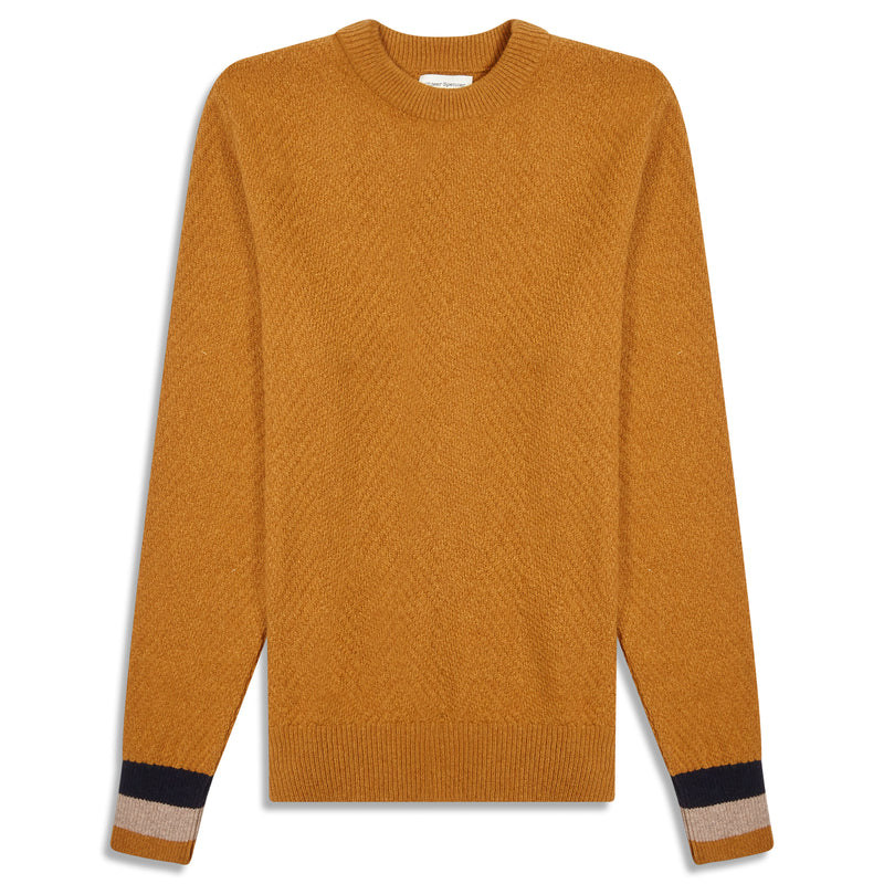 Oliver Spencer Blenheim Fairway Jumper - Ochre - Burrows and Hare