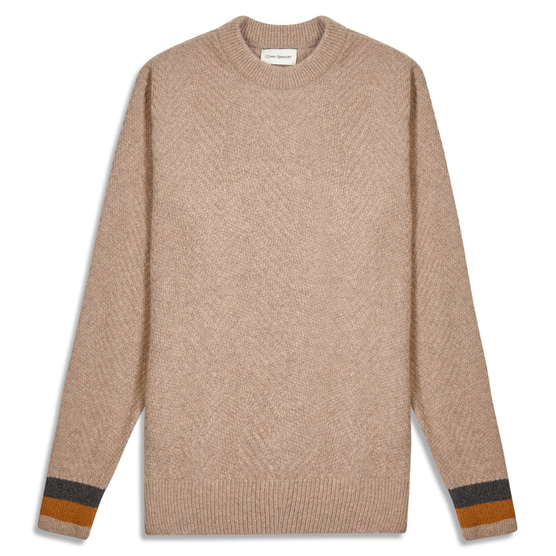 Oliver Spencer Blenheim Fairway Jumper - Beige - Burrows and Hare