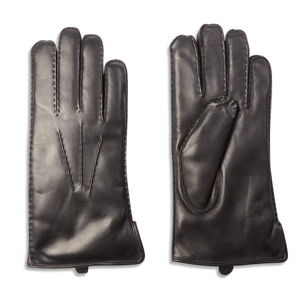 Dents Pembroke Fur Lined Leather Gloves - Black - Burrows and Hare