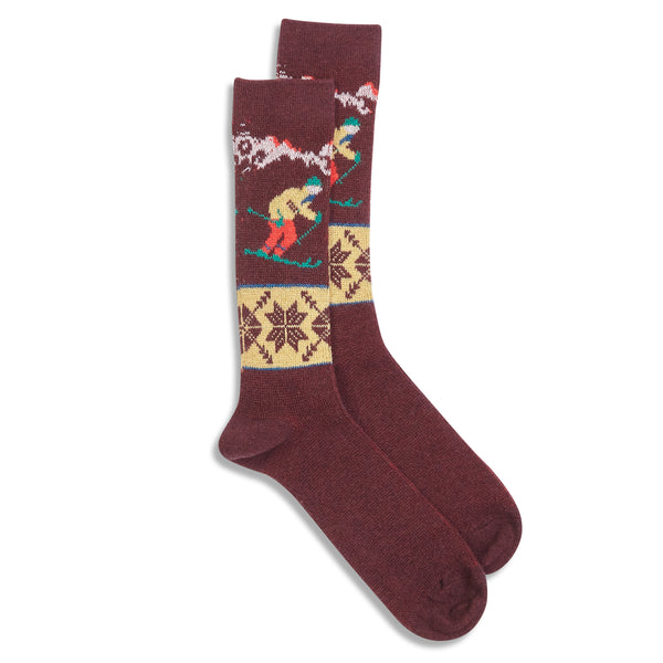 Anonymous Ism Wool Ski Crew Socks - Wine - Burrows and Hare